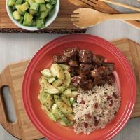 Picadinho De Filé Mignon com arroz integral e zucchini