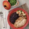 Filé de St. Peter com Crosta, arroz negro e mix de legumes